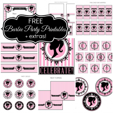 graphic regarding Free Printable Barbie Silhouette identified as Occasion PRINTABLES Birthday strategies Barbie birthday get together