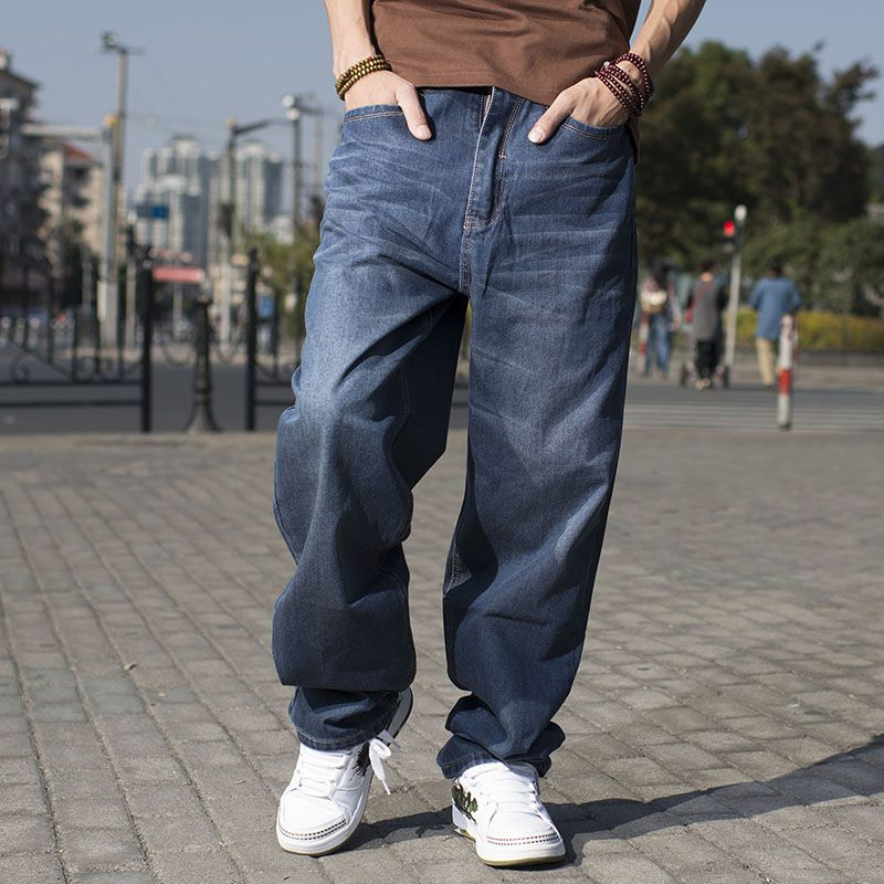 1a6e5ea3e38e8 Hot Sale Hip Hop Baggy Jeans For Men Skateboard Pants New Brand Large Size  Blue Jeans Hombre Plus Size 38 40 42 44 46