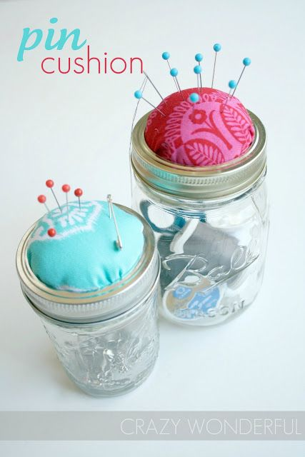 diy pin cushion from mason jar