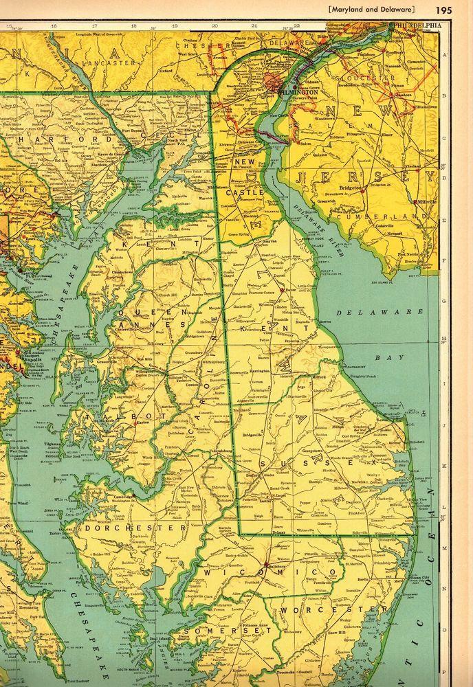 1949 Antique MARYLAND Map & DELAWARE Map w RAILROADS Rare