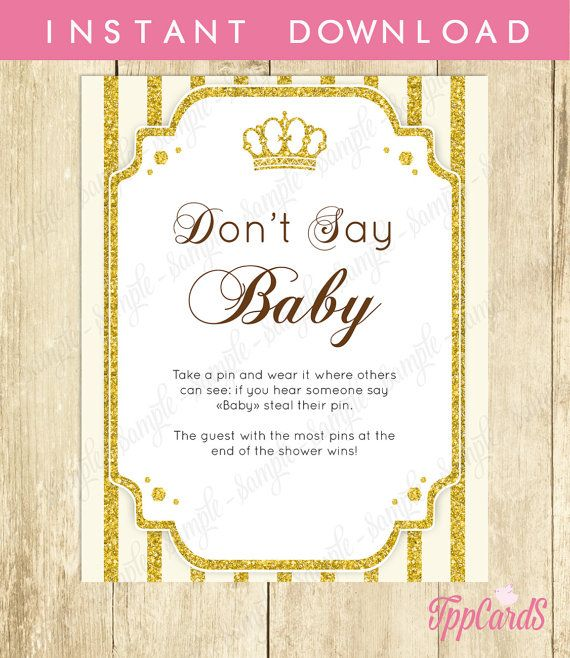 Baby Shower Clothes Pin Game Don't Say Baby Game Baby Shower Games Printable Prince Baby Shower