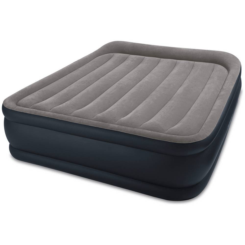 Intex Twin Deluxe Pillow Rest Raised Soft Flocked Air Mattress Bed with Pump