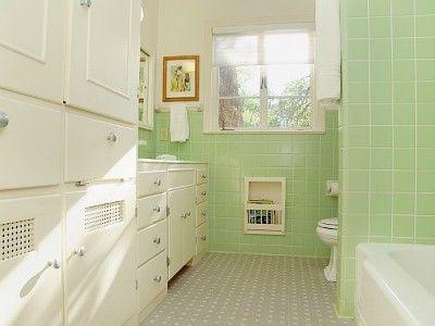 1940's vintage bathroom. | green tile bathroom, vintage