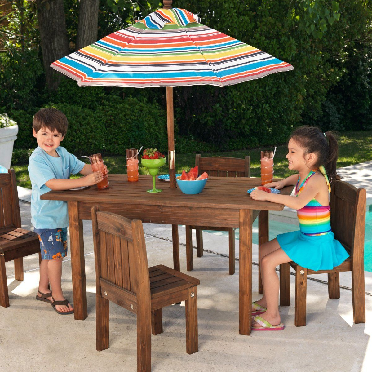 KidKraft Outdoor Table And 4 Stacking Chairs With Striped Umbrella   Kids  Tables U0026 Chairs At