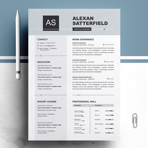 Apple Pages Resume / CV Template by ResumeInventor on - resume template for pages