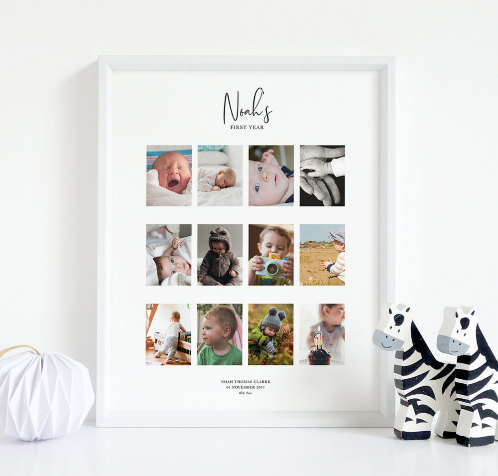 Baby S First Year Print Custom Baby Print A3 Etsy In 2020 Custom Baby Print Baby Prints Custom Baby