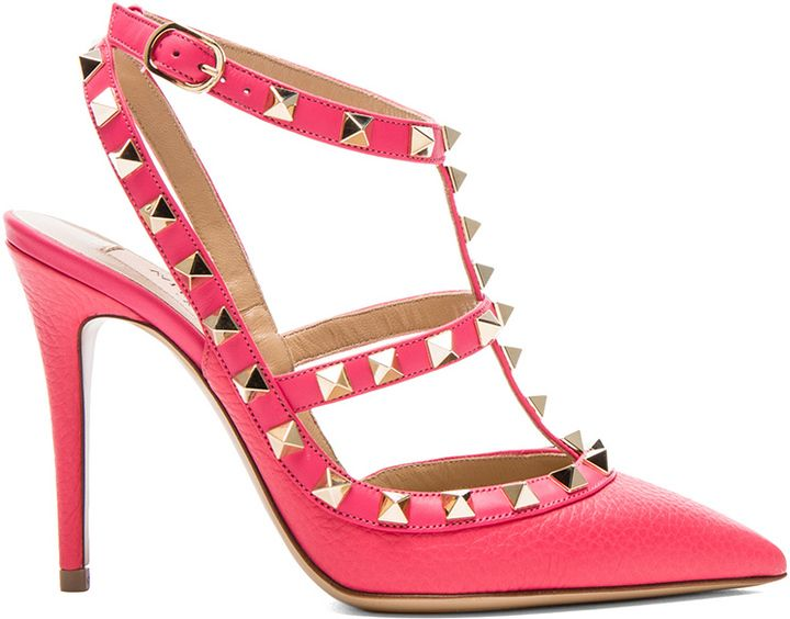 Valentino Rockstud Leather Slingbacks T 100 Hot Pink Valentino Pumps Hot Pink Sandals Http Www Shopstyle Com Act Chic Shoes Footwear Design Women Slingback