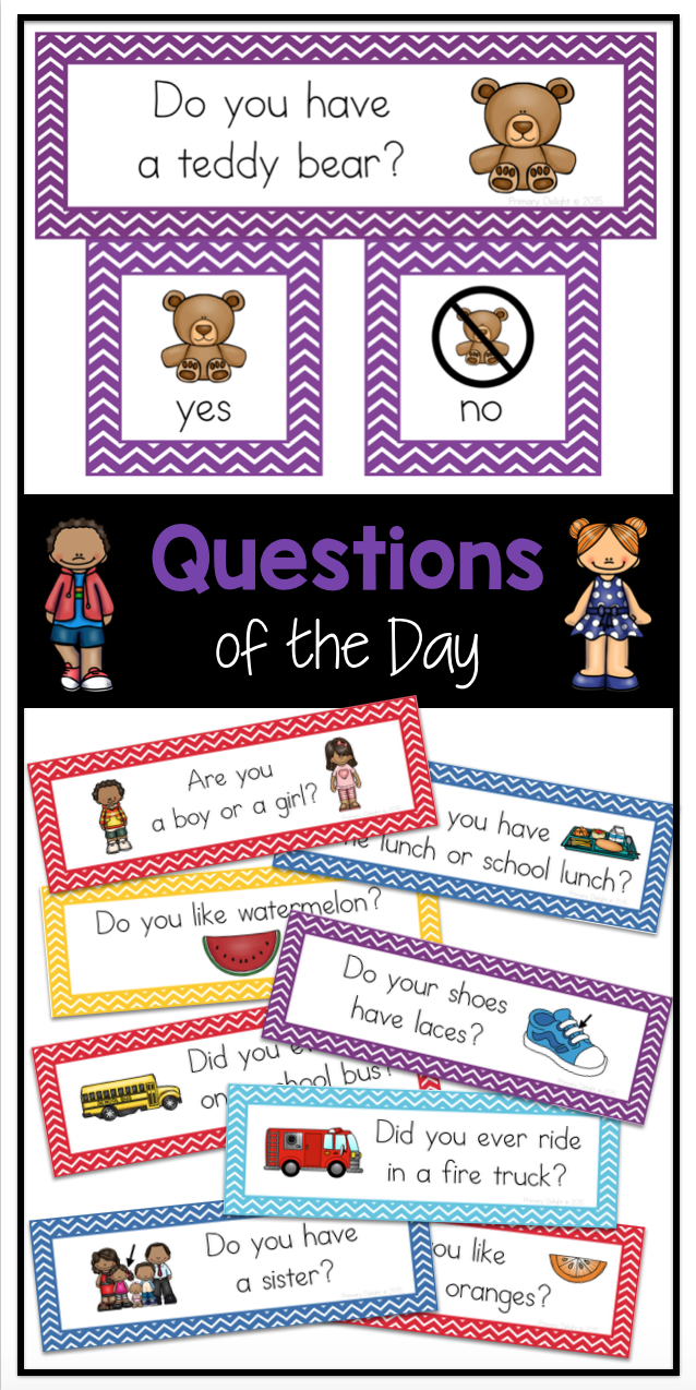 100 Question Of The Day Graphing Questions For The Entire Year Perfect For Preschool Kindergarten An Preschool Circle Time Preschool Activities Preschool Fun