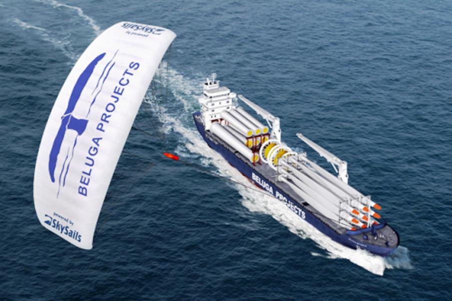 Cargueiro M.S. Theseus a 100 Km da costa, no Mar do Norte (um dos lugares mais difíceis de navegar no mundo, por causa dos ventos fortes e das ondas altas) com os motores reduzidos e sendo puxado pela pipa  a 350 Mts de altura .