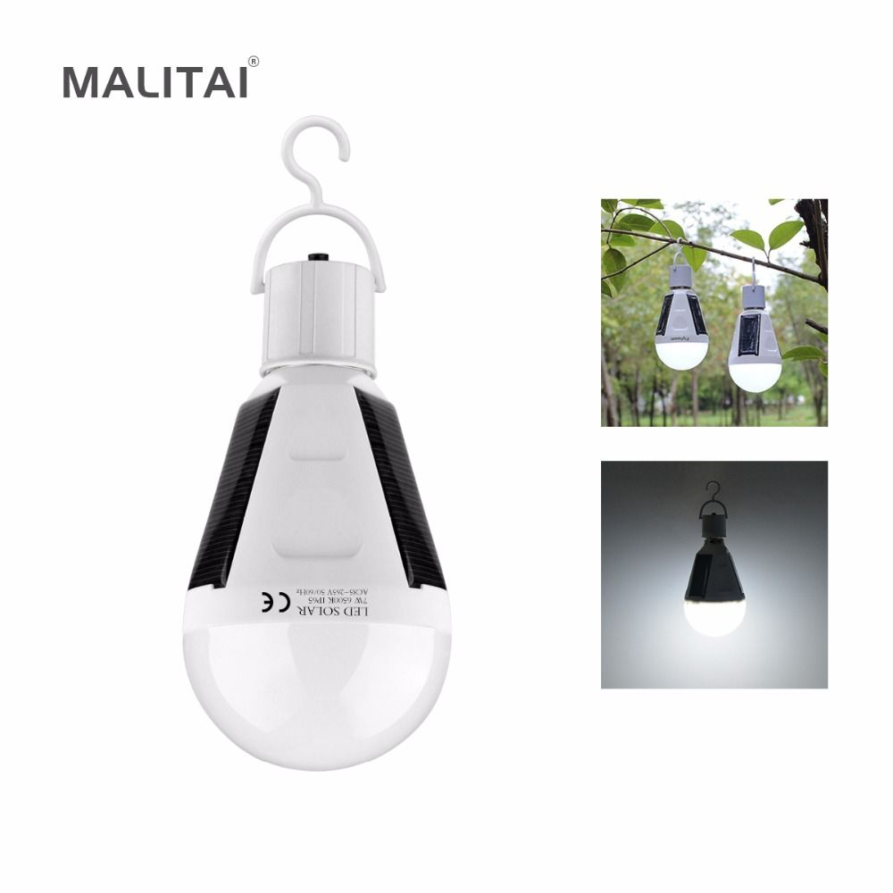 Portable E27 Rechargeable Led Solaire Lampe 7 W 12 W 85 V 265 V Intelligent Puissance Pannes D Urgence Ampoule Camping Rand Solar Lamp Led Bulb Led Night Light