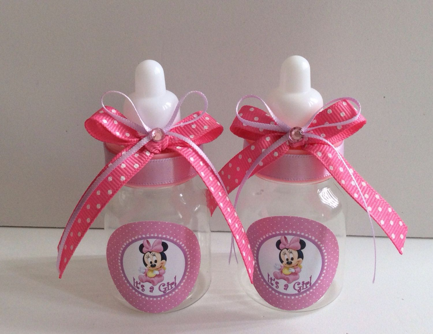 mouse baby bottles party favors pink baby shower minnie mouse baby