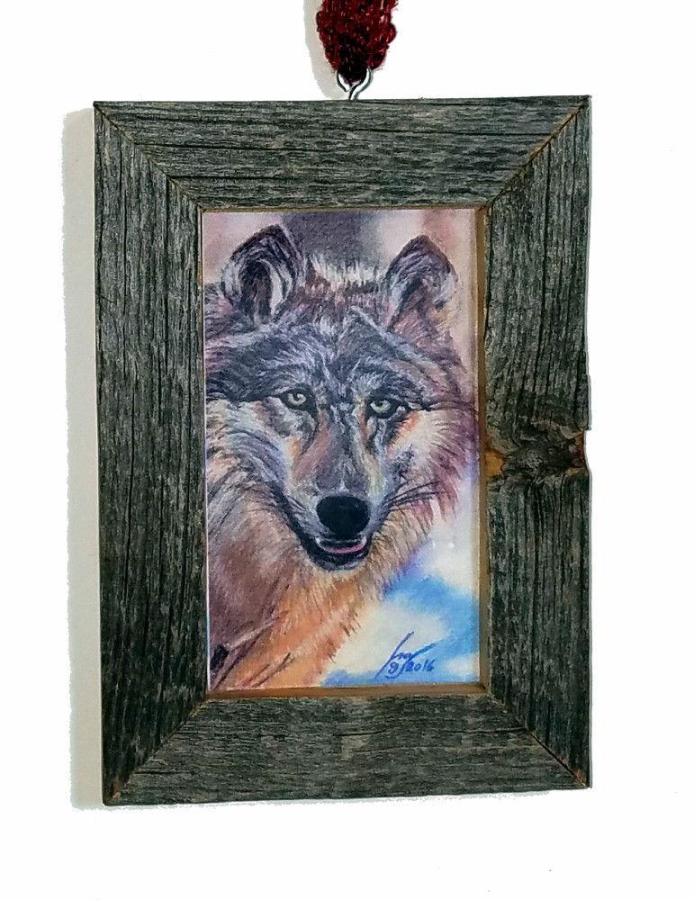 Wolf Pastel Pencil Painting By Isa Kirk Custom Mini Barn Wood