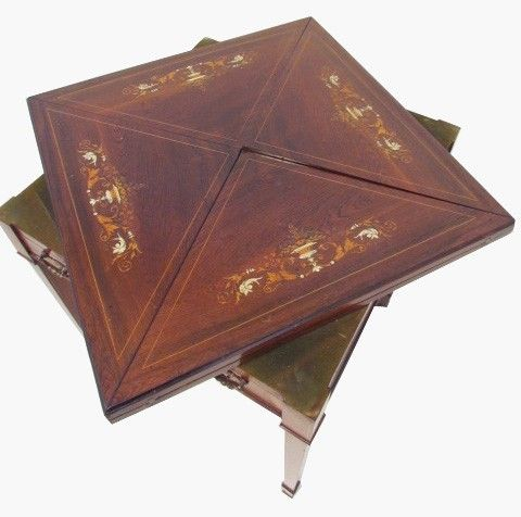 A Fine Antique Rosewood Envelope Card Table By Maple Co With Pop Up Action Ebay Table Cards Antiques Rosewood