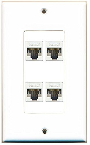 Riteav Decorative 1 Gang 4 Port Cat5e Wall Plate White Plates On Wall House Wiring Internet Router