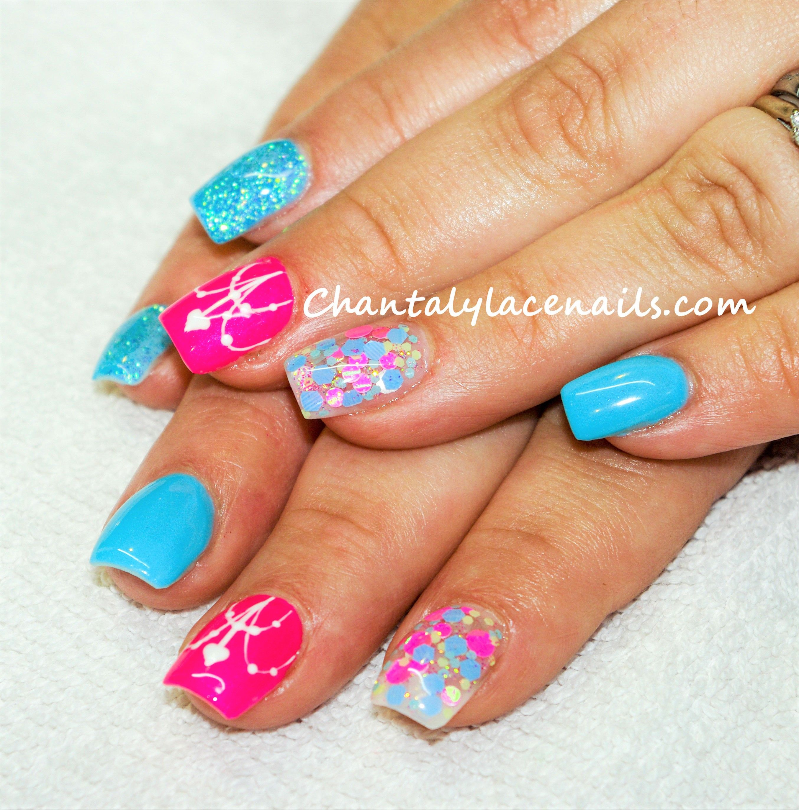 Bright Pink And Blue Nails Confetti Nails Confetti Nails Bright Blue Nails Bright Pink Nails