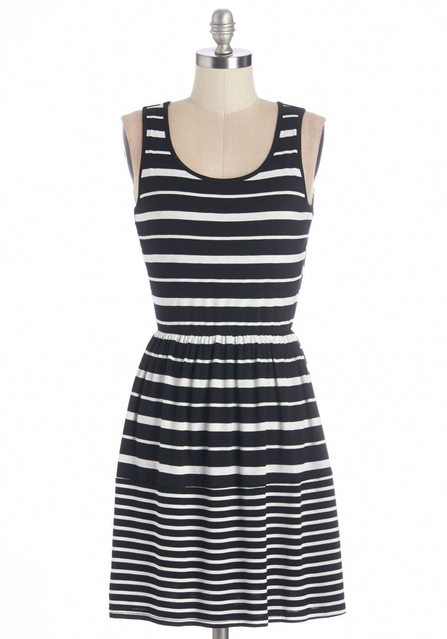 Sundial Be There Dress. Just as you can count on your garden sundial to keep you on time, you can rely on this striped cotton-blend dress to keep you feeling effortlessly chic!  #modcloth