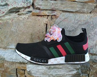 d81fcaab565 custom paint womens and mens adidas nmd casual shoes gucci style black color  athletic run sneakers with custom laces