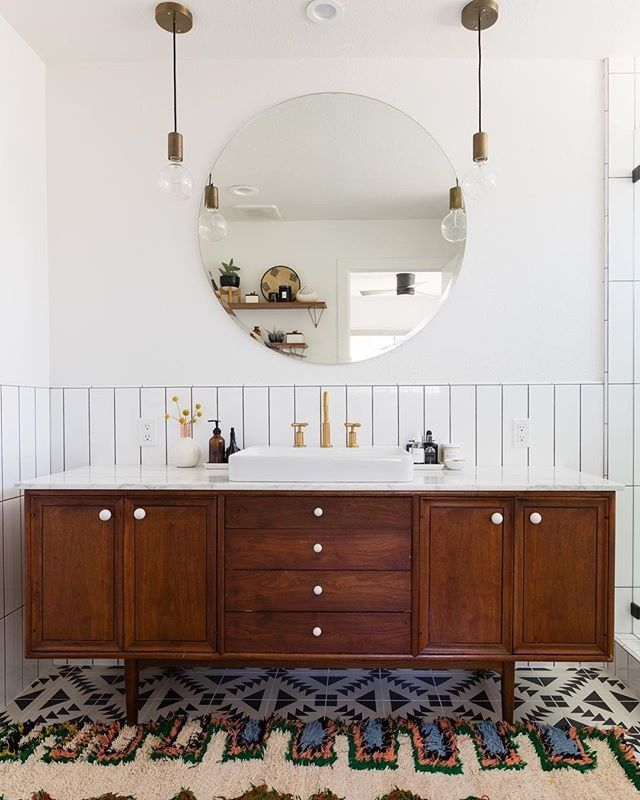 Photo of Bohemian Vibes Meet Contemporary Glam in This Stunning Bathroom | Hunker