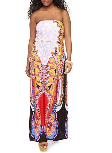 Plus Size Deco Swirl Print Strapless Maxi Dress with Tie Waist