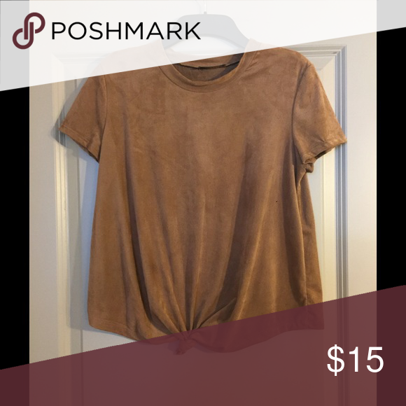 Faux suede crop top Knot tied in front. Round neck. Soft and has some stretch in fabric. Size is medium, size tag is missing. blvd Tops Tees - Short Sleeve