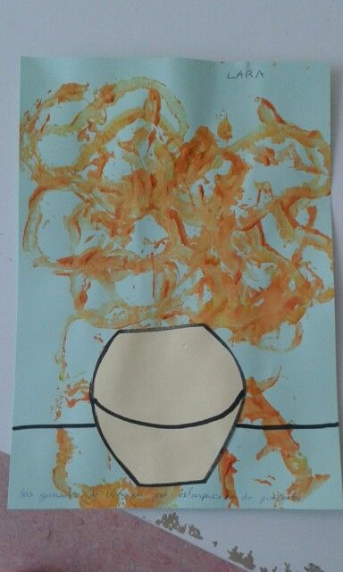 Los girasoles de van Gogh con estampación de pimientos