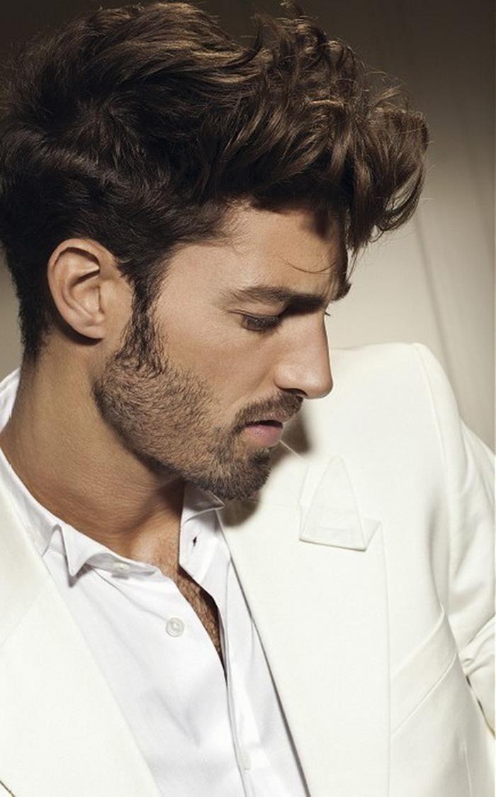 Modern pompadour beard - Medium Curly Pompadour Hairstyle For Men 2016