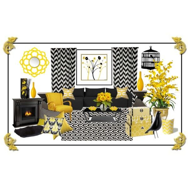 Yellow And Black Living Room By Truthjc On Polyvore Featuring Polyvore Interior Interio Black Living Room Black And White Living Room Black Living Room Decor #yellow #and #black #living #room #ideas