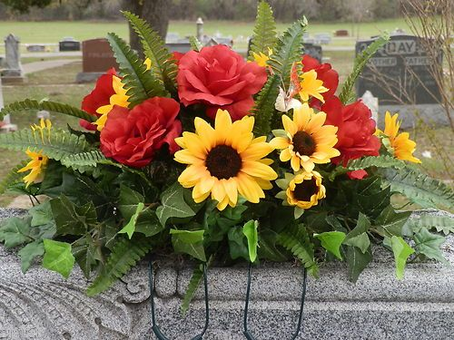Headstone Memorial Tombstone Cemetery Silk Flower Saddle Wreath Red Roses | eBay