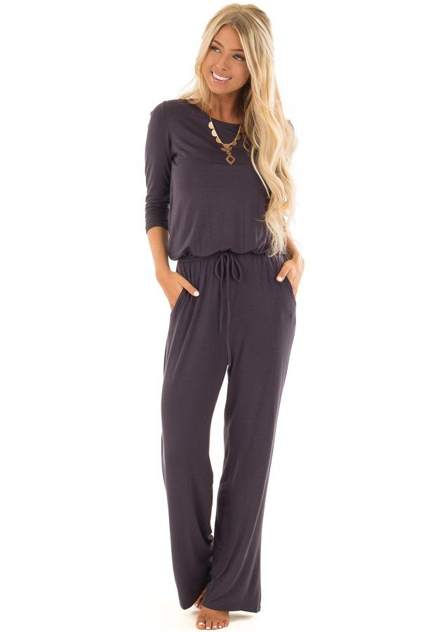 ea3d66518f0 Slate 3 4 Sleeve Jumpsuit with Waist Tie and Keyhole Detail front full body