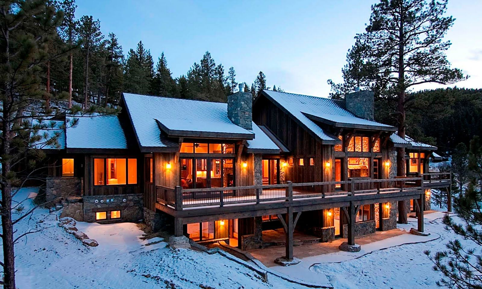 Modern mountain cabin floor plans for Mountain lodge home plans