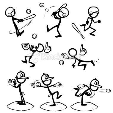 Stickfigure Baseball Softball Stickfigures Playing Baseball Or Stick Figure Drawing Stick Figures Stick Drawings