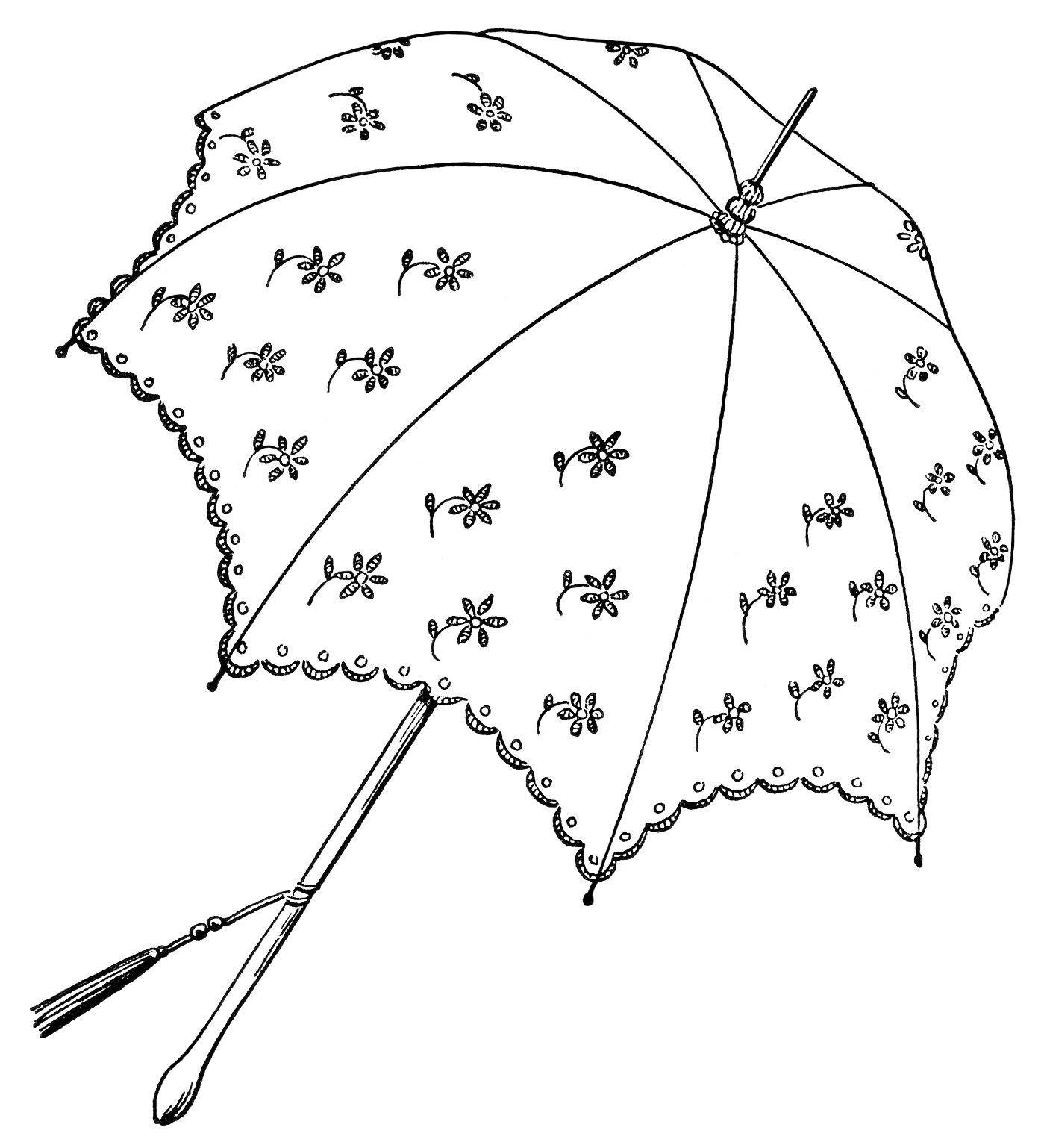 Vintage Parasol Clipart Black And White Graphics