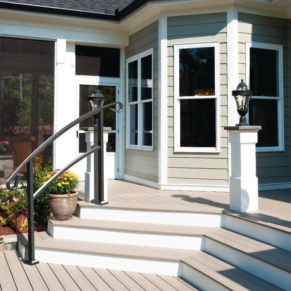Tuffbilt Handirail 3 57 In X 63 25 In X 3 10 Ft Matte Black 4 | Black Aluminum Stair Railing | Interior | Classic | Simple | Square Metal | Pressure Treated Deck Black