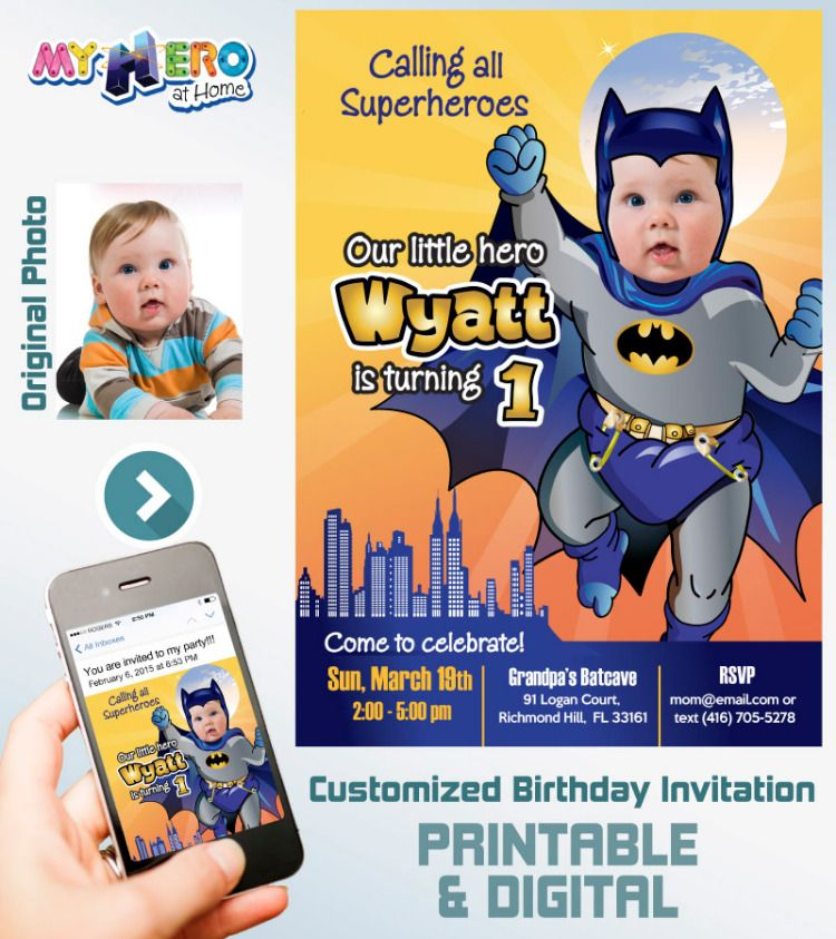 Baby Batman 1st Birthday Invitation First Party Ideas
