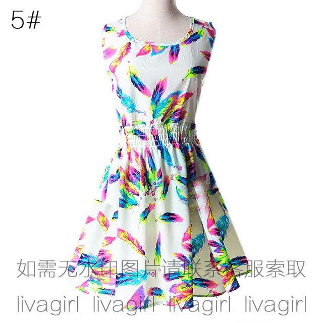 Dress women mini models summer large size vest printed sleeveless floral chiffon dresses vestidos dropshipping ly1138 #shortsundress