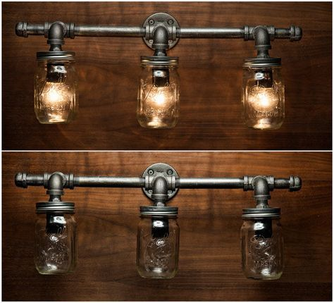 3 Mason Jar Light Pipe Light Vanity Light by EyeKandyPipeWorks