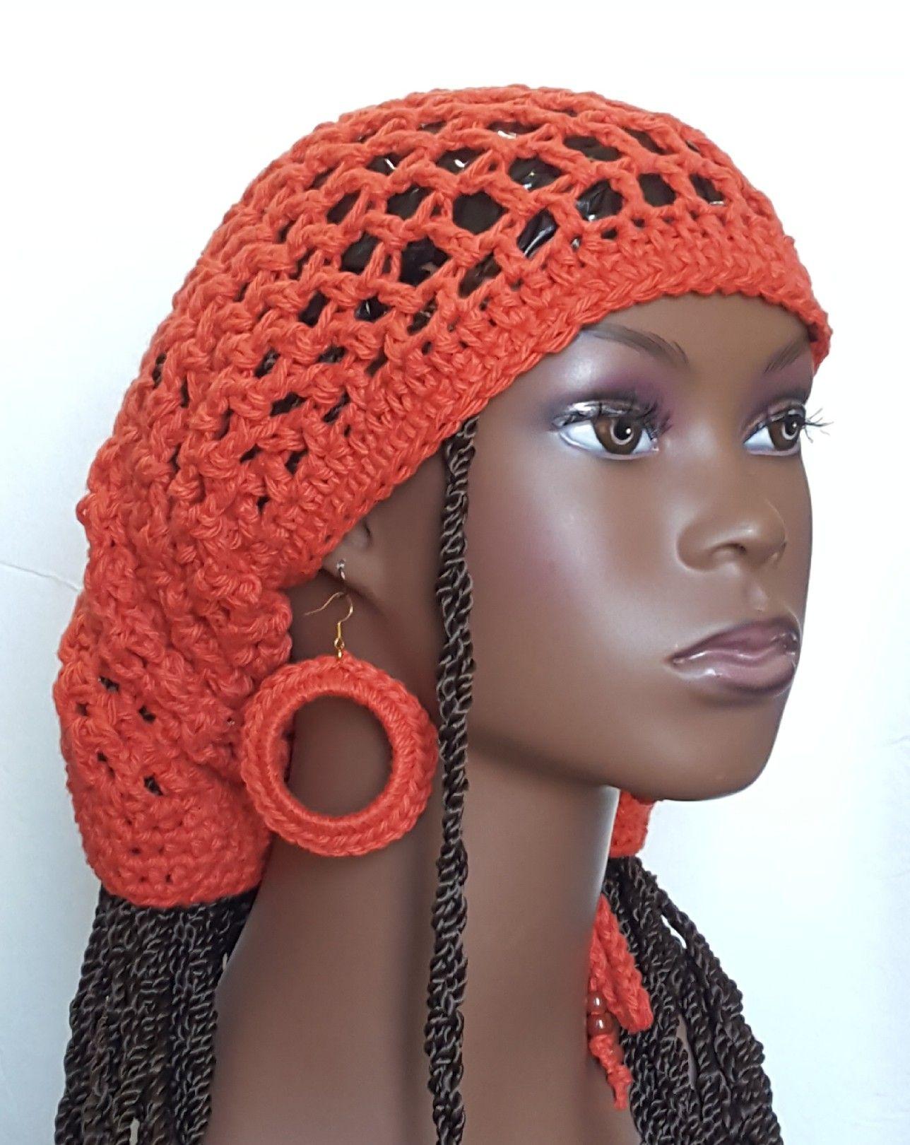 b7d55766a43b9 Burnt Orange LocTube Dread Tube Open Back Slouchy Hat Dreadlocks Beanie by  Razonda Lee