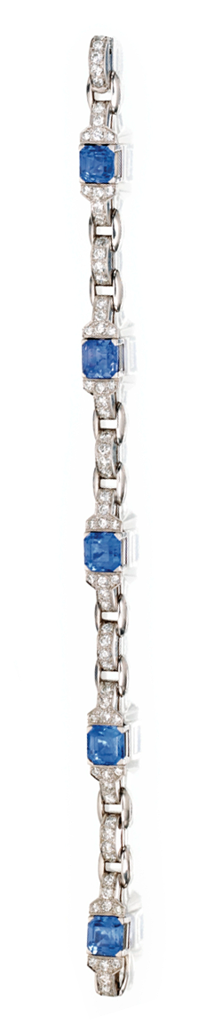 PLATINUM, SAPPHIRE AND DIAMOND BRACELET, TIFFANY & CO.     Set with square emerald-cut sapphires weighing approximately 11.00 carats, accented by round diamonds weighing approximately 2.50 carats, length 7 inches, signed Tiffany & Co.