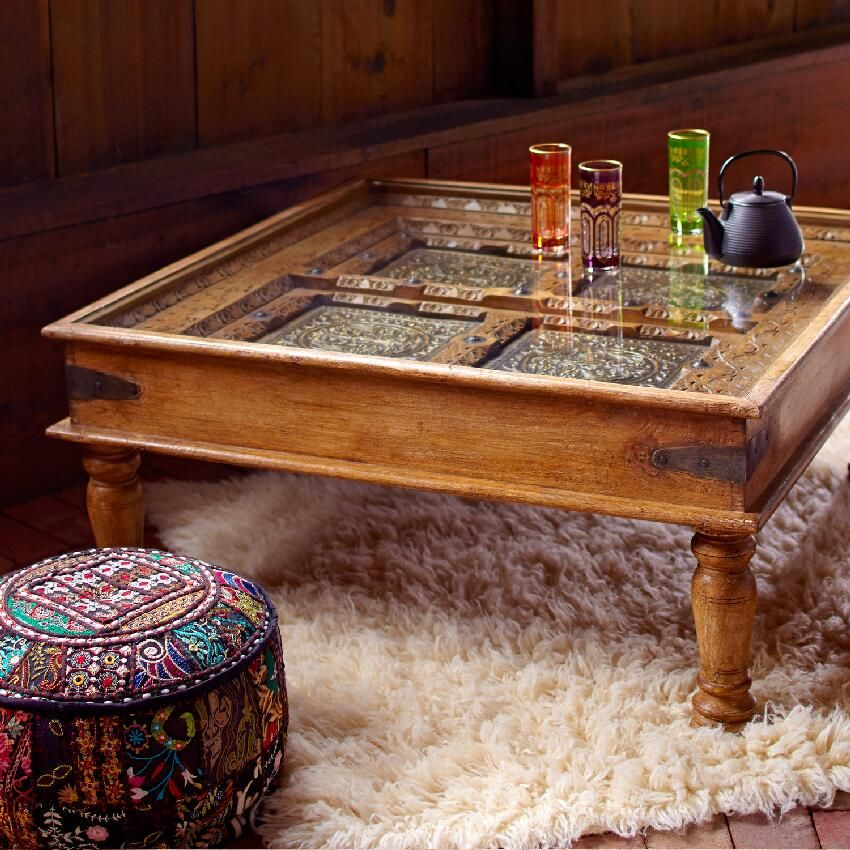 Teak Coffee Table India: Sudara Carved Coffee Table With Glass