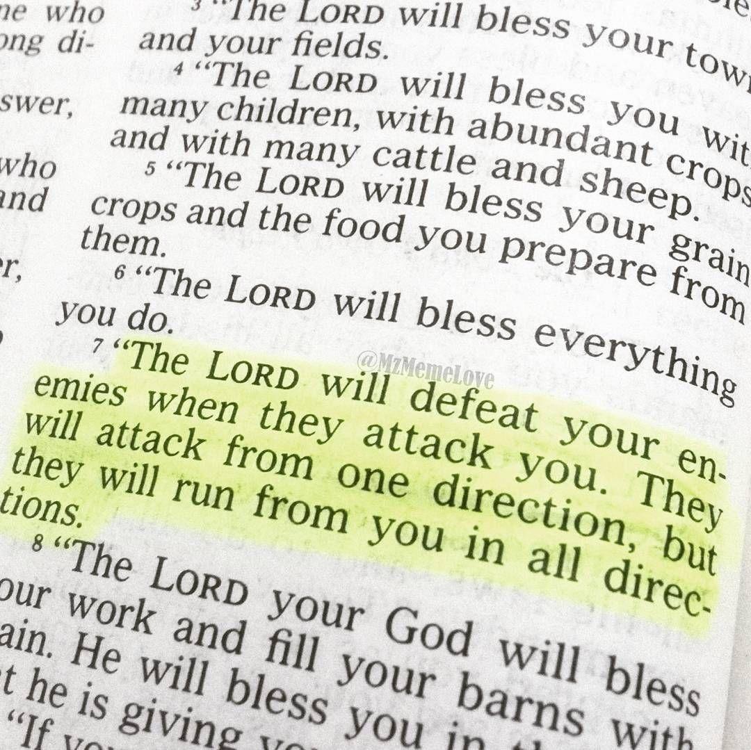 Bible Quotes Enemies: Deuteronomy 28:7