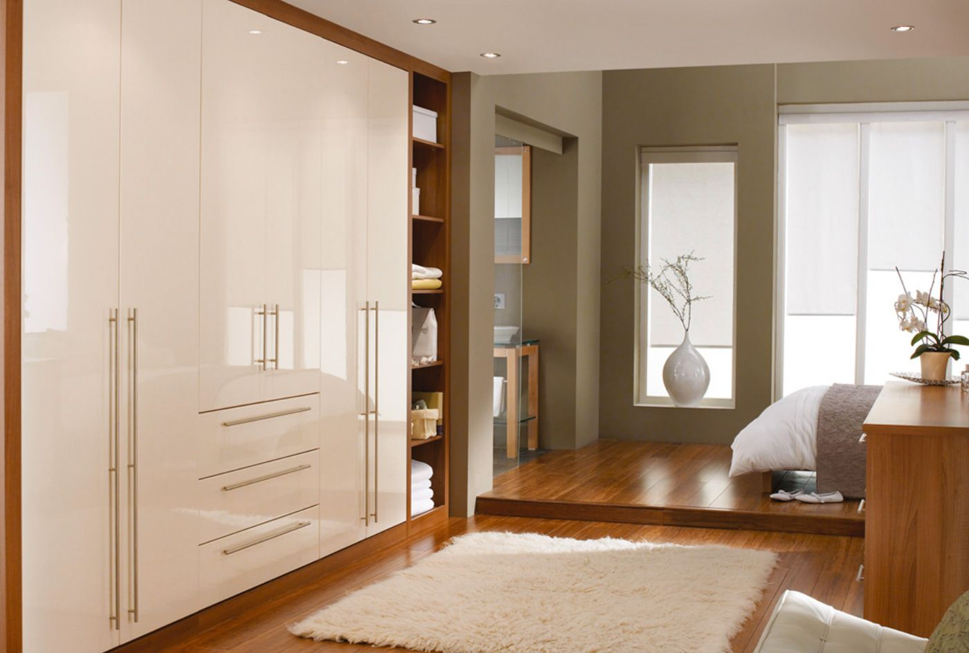Modern Fitted Bedrooms High Gloss Cosmopolitan Bedroom Furniture Range In Classic Cream
