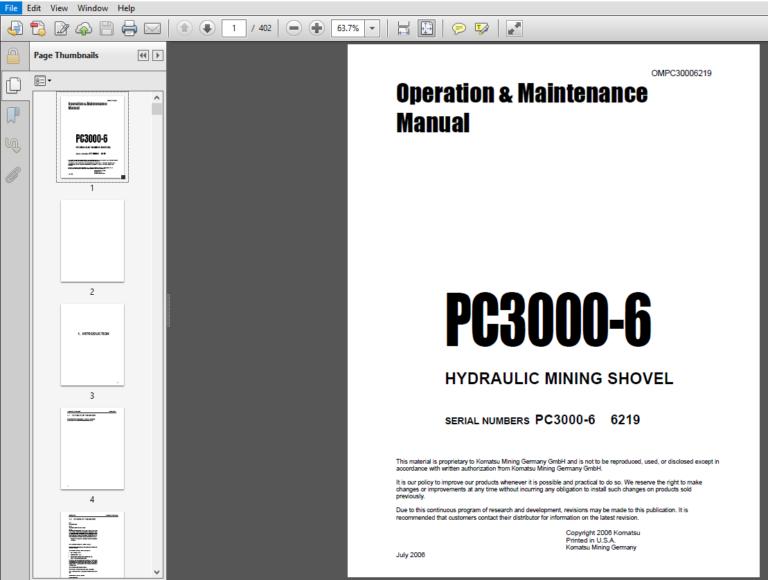 Komatsu Pc3000 6 Hydraulic Mining Shovel Operation Maintenance Manual Sn Pc3000 6 6219 Pdf Operation And Maintenance Hydraulic Komatsu