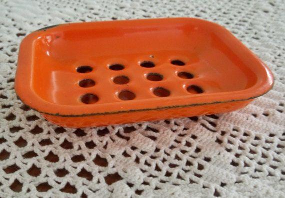 Vintage Orange Enamel Soap Dish 2 Pc Farmhouse Strainer