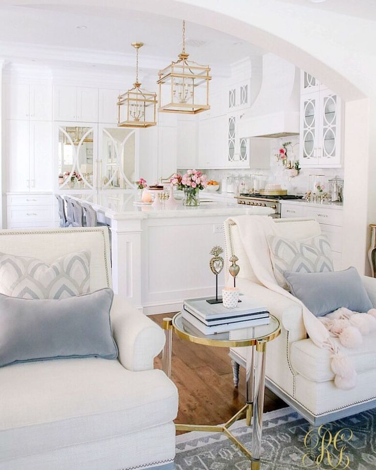 Love The Light Blue And White And Gold Color Sceme For This Kitchen And Living Room Home Cheap Home Decor Home Decor