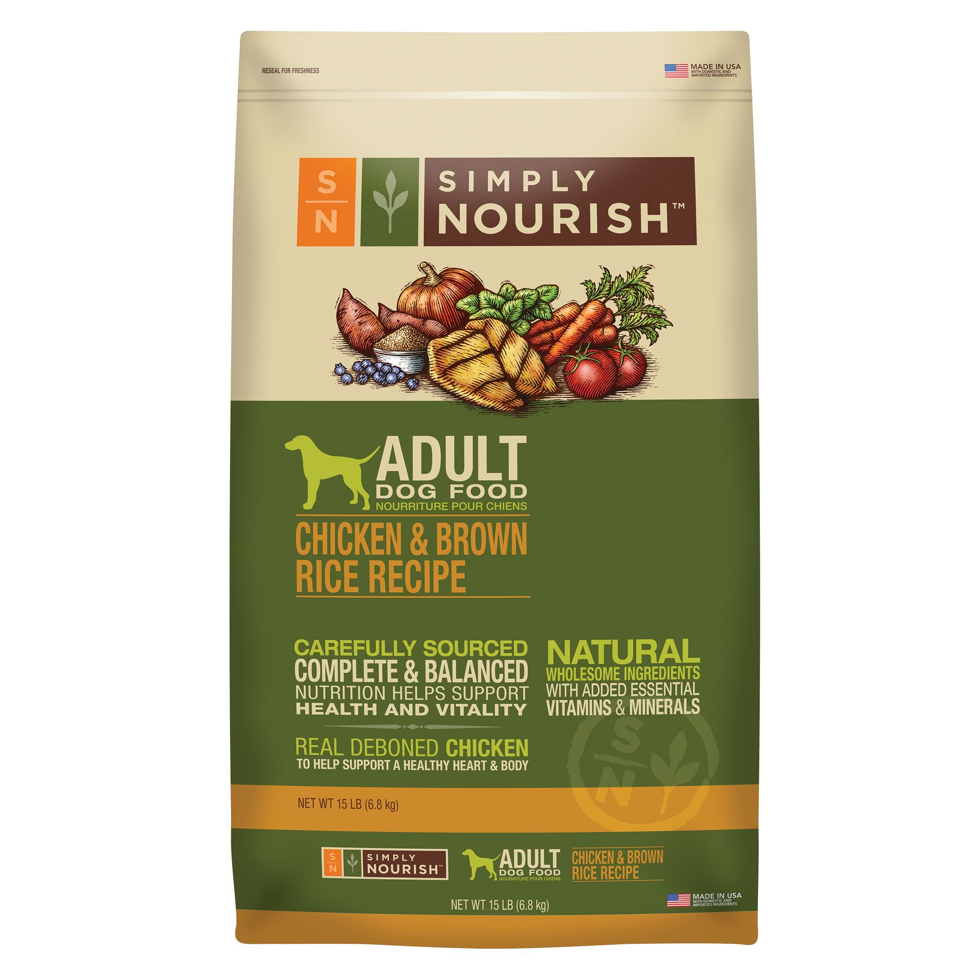 Simply Nourish Adult Dog Food Natural Chicken And Brown Rice