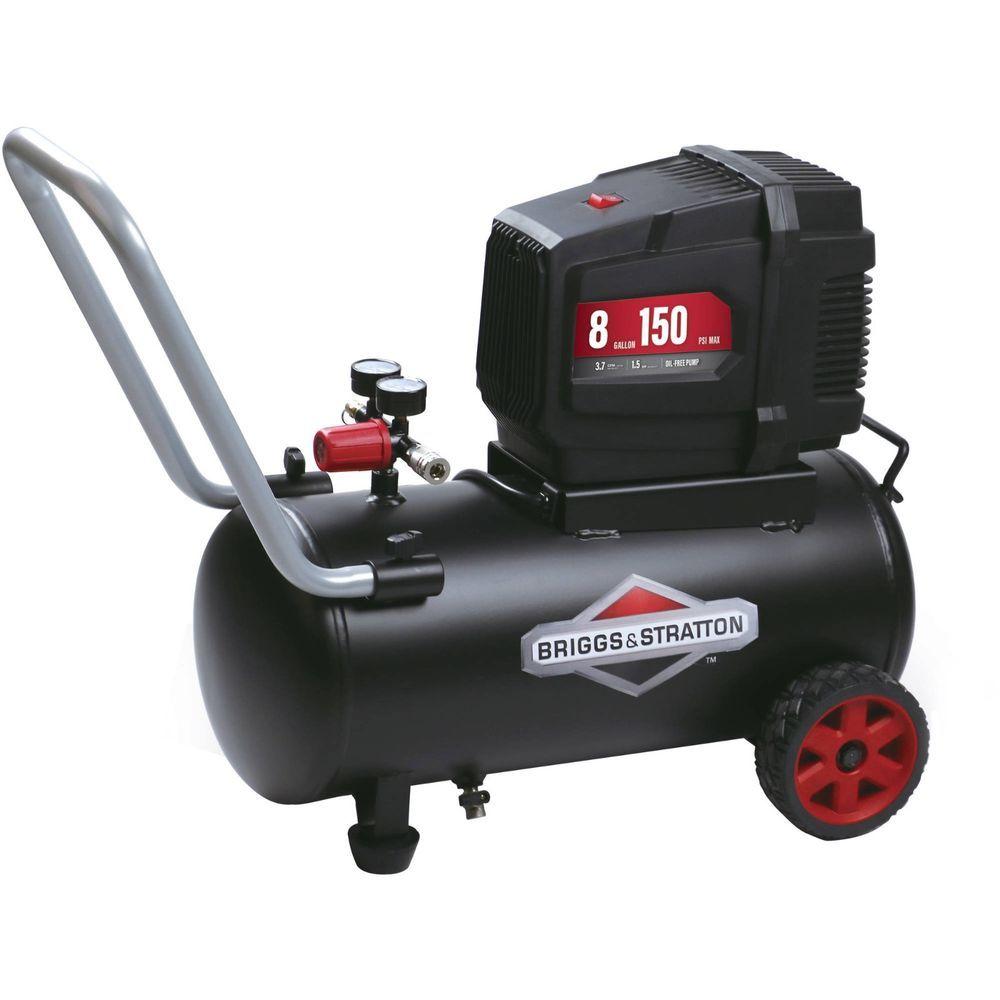 Briggs Stratton 8 Gallon Oil Free Air Compressor Portable Garage Workshop Tool Briggsampstratton