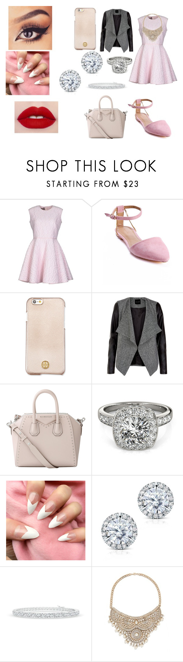 """little to girly"" by meadowfulcher on Polyvore featuring Giambattista Valli, Sergio Bari, Tory Burch, Givenchy, Allurez, Kobelli and Bebe"