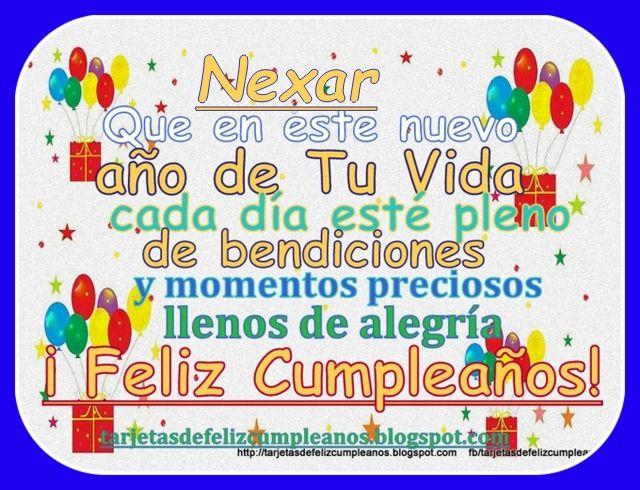 Postales de cumpleaños con nombres Nexar , feliz cumpleaños ! Nombres varon tarjeta de