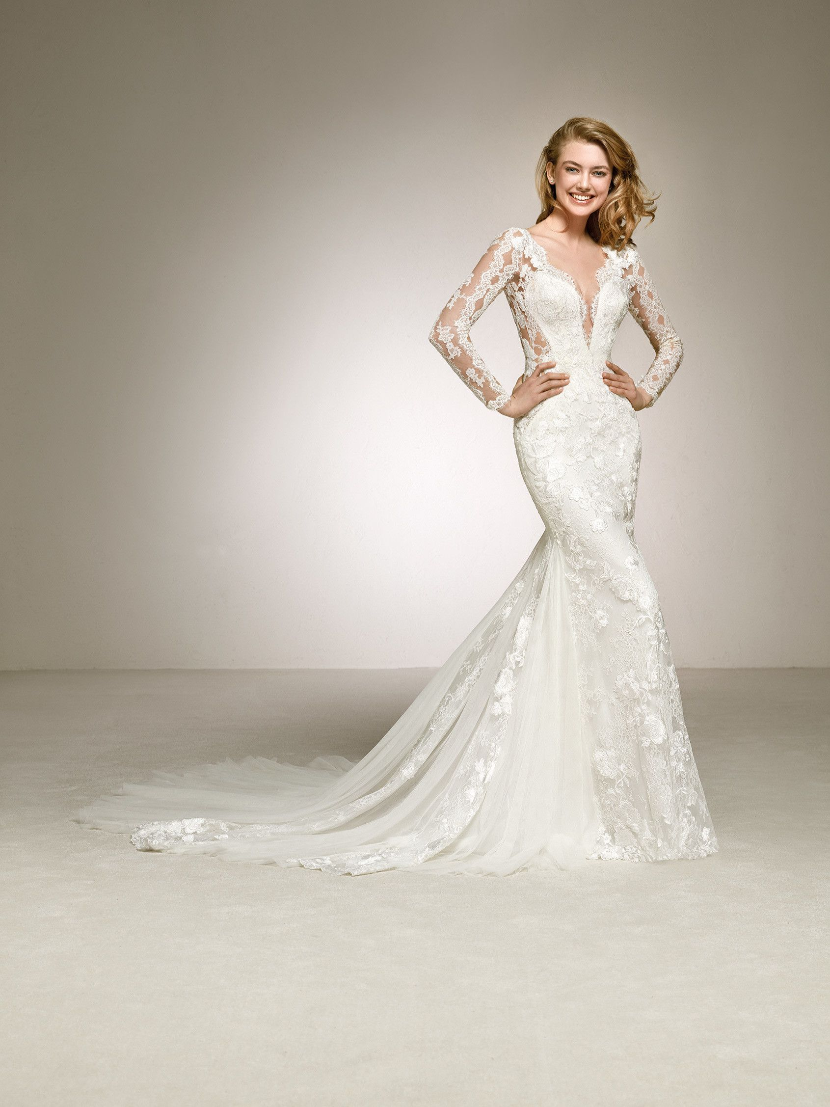 807236466a6c Pronovias 2018 Style DAMARIS Tulle, lace and sheer sides -ingredients of  this sexy wedding gown. A long sleeve, V-neck design featuring a mermaid  skirt with ...