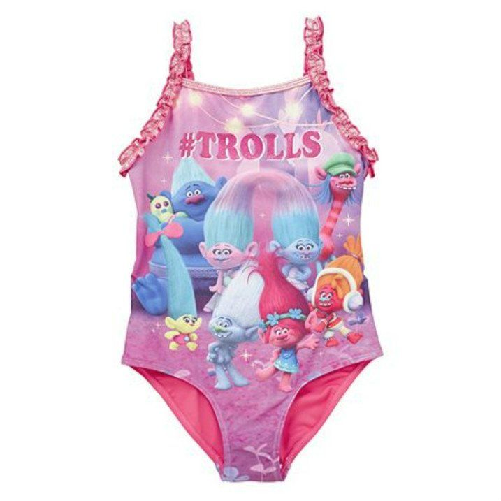 Kids Girls colorful Trolls Multicolor Bathing Swimwear Swimsuit Summer Bikini